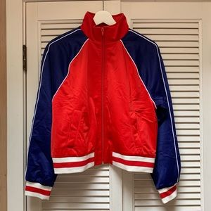 Forever 21 Blue/Red/White Color Block Full Zip Up